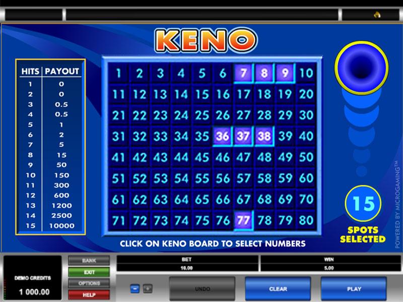 Play power keno online, free