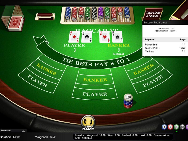 online casino baccarat rules